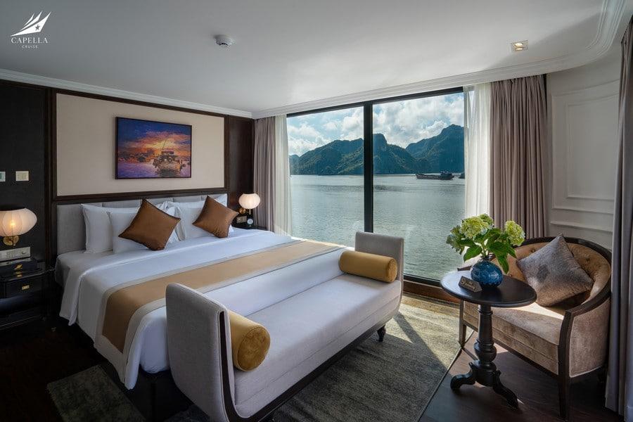 Phòng nghỉ sang trọng, tiện nghi trên du thuyền